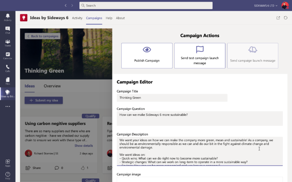 Ideas by Sideways 6 for Microsoft Teams